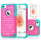 US Luxury Hybrid Rugged Rubber Armor Bling Crystal Case Cover for iPhone 5/5s/SE