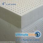 "NEW 4 Inch 100% Natural Latex Mattress Pad Topper - QUEEN 60 x 80"", 3 Densities"