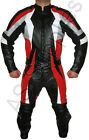 """EXTERMINATION"" 2-piece Black/Red Leather Biker Motorcycle Suit - All sizes!"