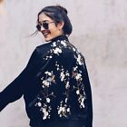 BLOGGER STREET STYLE GOOD VIBES VTG FLORAL EMBROIDERED COAT BOMBER JACKET