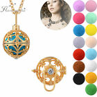 Gold Plated Open Locket Pendant With Crystal Aromatherapy Essential Oil Necklace