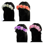 Large Coloured Fabric Roses Elasticated Hair Garland Bandeaux Hair Accessory