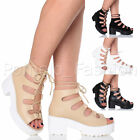 WOMENS MID BLOCK HEEL CHUNKY PLATFORM LACE UP ANKLE BOOTS SANDALS SHOES SIZE