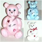 Personalised Teddy Bear Grave Memorial Baby Blue / Pink / White Tribute Ornament