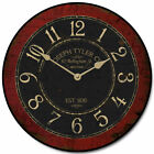 Bellingham Red LARGE WALL CLOCK 10- 48 Whisper Quiet Non-Ticking WOOD HANDMADE
