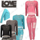 Ladies Sweatshirt Crop Top Jumper Loungewear LOVE Jogger Diamante Tracksuit Marl