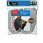 6-Pack Hanes Casual Sports Athletics Crew Socks BLACK WHITE or GREY Size 38-46