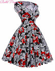 Vintage Style Swing 1950s Housewife Cotton Retro Pinup Formal EVENING Prom Dress