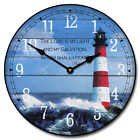 Lighthouse LARGE WALL CLOCK 10- 48 Whisper Quiet Non-Ticking WOOD HANDMADE