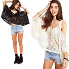 New Women Ladies Chiffon Lace 3/4 Sleeve Shirt T-shirt Summer Casual Blouse Tops