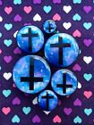 Pair of Galaxy Cross Crucifix Inverted Ear Plugs - 6mm - 25mm