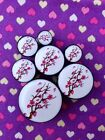 Pair of Red Blossom Tree Plugs Tunnels Gauges- 6mm - 25mm