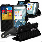 Leather Executive Book Wallet Phone Case Cover+In Car Charger for Samsung
