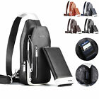 Men's Faux Leather Sling Bag Chest Pack Shoulder Backpack w/ Wallet 2pc Set