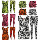 New Women Zebra Print Top Ladies Neon Fluorescent Vest Top Shirt