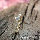 Diamond Engagement Ring 14K Yellow Gold Natural 0.87 TCW SI D-F Size 5 Enhanced