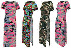 Womens Ladies Side Split Camouflage Army Short Sleeve Midi Dress Top Look Tunic