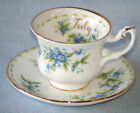 ROYAL ALBERT ' FLOWER OF THE MONTH  ' MINI CUP & SAUCER -ENGLISH BONE CHINA
