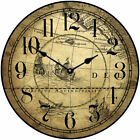 """Large wall Tan Map Clock 10""""- 48"""" Whisper Quiet, Non-Ticking"""