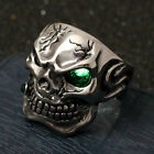 Men's Silver Vintage Skull Turquoise CZ Eye Smoking Cigar Stainless Steel Ring