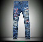 #449 Men's Summer Fashion Double Swords Printing Blue Slim Long Trousers Jeans