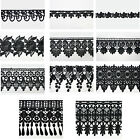 """5/8"""" - 5-1/8"""" Wide Black Floral Embroidered Venice Lace Guipure Trim by Yardage"""