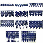 "5/8"" to 5-1/8"" Wide Royal Blue Dark Embroidered Venice Lace Guipure Trim by Yard"