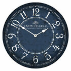 Blue & White LARGE WALL CLOCK 10- 48 Whisper Quiet Non-Ticking WOOD HANDMADE