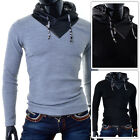 Mens Long Sleeve D&R Fashion Hooded Eco Leather Patches and Hood Slim Fit