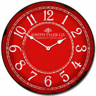 Red & White LARGE WALL CLOCK 10- 48 Whisper Quiet Non-Ticking WOOD HANDMADE