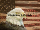 Rustic Bald Eagle Bird On American Flag Home Decor Matted Art Picture Photo A213