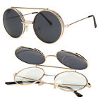 Cool Flip Up Lens Steampunk Vintage Retro Style Round Sunglasses Tortoise Gold C