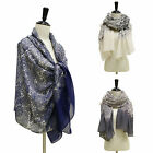 FLORAL CASHEW PRINT LACE COTTON SCARF WRAP SHAWL / PURPLE FLOWER HEADSCRAF