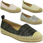 NEW WOMENS LADIES FLAT SLIP ON BALLERINA ESPADRILLES SHOES SANDALS FLATS SIZE