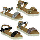 NEW WOMENS LADIES GLITTER LOW FLAT HEEL OPEN TOE BUCKLE SHOES SANDALS SIZE