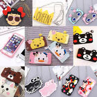 3D Cute Cartoon Soft Silicone Phone Back Case Cover With Strap for Apple iPhone
