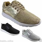 WOMENS LADIES FITNESS TRAINERS SPORTS RUNNING GLITTER SHOES LACE UP PUMPS SIZE