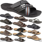 MENS LEATHER LOOK SLIP ON BOYS SPORTS BEACH SURF FLIP FLOP GENTS MULE SHOES SIZE
