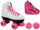 New Epic Princess Pink Girls Indoor/Outdoor Quad Roller Skates Bundle