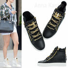 AnnaKastle New Womens Faux Leather Gold Zip and Chain High Top Sneakers Black