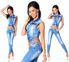 Sexy Women's Stylish Wash Cropped Jacket & Jeans  Skinny Slim Low Waist N 594