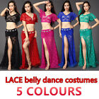 New 2016 Lace Belly Dancing Costumes Stage Club 2Pcs Top&Long Skirt Slit M L