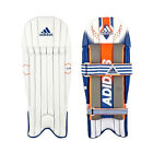 adidas CX11 Kids Cricket Wicket Keeping Pads Leg Guards White/ Blue/ Orange