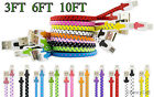 Braided Flat Tangle Free Micro USB Charger Cable Cord Sync For New Cell Phones