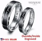 Personalized Engraved Stainless Steel Lover Couple Ring Engagement Promise Band