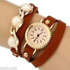 Hot Sales Women Bracelet Quartz Wrist Watch Pearl Leather Strap