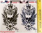 Large Tattoo Demon Lord Skull Mystic Eyes Bee Devil Crown Waterproof Sticker