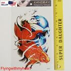 Large Tattoo Demon Lord Skull Devil Golden Fish Red fish Waterproof Sticker 85