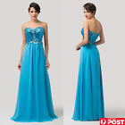 Blue Strapless Sequins  Chiffon Prom Formal Evening Maxi Dress Size 8