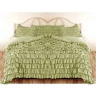 SAGE WATERFALL RUFFLED SOLID DUVET SET/SKIRT 1000TC 100% COTTON SCALA ALL SIZE